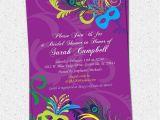 Masquerade Bridal Shower Invitations Bridal Shower Invitation Printable Mardigras Mardi Gras
