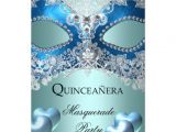 Masquerade Invitations for Quinceaneras Masquerade Quinceanera 15 Blue Birthday Party 5×7 Paper