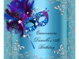 Masquerade Invitations for Quinceaneras Quinceanera 15th Birthday Party Masquerade Blue 5 25×5 25
