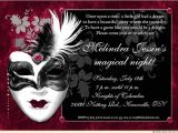 Masquerade Party Invitation Ideas Black Ruby Sweet 15 Masquerade Invitation Wording