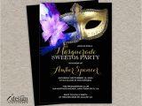 Masquerade themed Quinceanera Invitations Sweet 16 Masquerade Invitation Diy Printable Mardi Gras Sweet