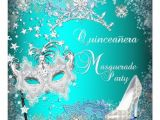 Masquerade themed Quinceanera Invitations Teal Masquerade Quinceanera 15th Party Tiara Shoe 5 25×5