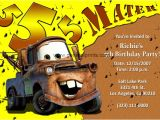 Mater Birthday Invitations Disney Cars Invitations Lightning Mcqueen