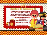 Mcdonalds Birthday Invitation Cards Mcdonald S Ronald Happy Meals Invitationpersonalized