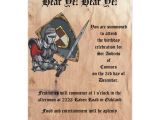 Medieval Party Invitations Medieval Knight with Sword and Shield Birthday Card