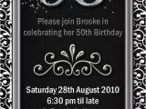Mens Birthday Party Invitation Templates Example 50th Birthday Invitations Flower Patern Silver