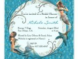 Mermaid themed Bridal Shower Invitations Mermaid Teal Blue Floral Bridal Shower Invites 5 25