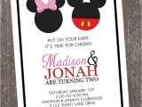 Mickey and Minnie Joint Birthday Party Invitations Mickey and Minnie Mouse Birthday Invitation by