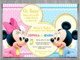 Mickey and Minnie Mouse Baby Shower Invitations Baby Mickey Minnie Mouse Baby Shower Invitation Baby Minnie