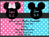 Mickey and Minnie Mouse Birthday Invitations for Twins Mickey and Minnie Birthday Invitations