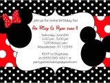 Mickey and Minnie Mouse Birthday Invitations for Twins Mickey and Minnie Invitations Template
