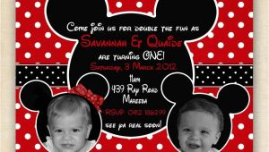 Mickey and Minnie Mouse Birthday Invitations for Twins Mickey and Minnie Mouse Twin Birthday Party Invitation