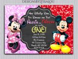 Mickey and Minnie Mouse Birthday Invitations for Twins Mickey and Minnie Twin Birthday Invitation Twin