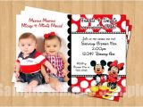 Mickey and Minnie Mouse Birthday Invitations for Twins Minnie Mickey Mouse Twins Birthday Party Personalized