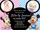 Mickey and Minnie Mouse Birthday Invitations for Twins Minnie Mouse Mickey Mouse Baby E Twins First Birthday Party