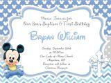 Mickey Mouse Baptism Invitations Baby Mickey 1st Birthday Baptism Christening Invitation
