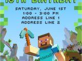 Minecraft Birthday Party Invitations Templates Free Minecraft Invitations Printable