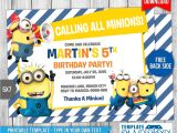 Minion Birthday Party Invitations Templates Minions Birthday Invitation 7 by Templatemansion On