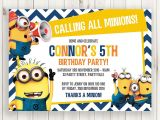 Minion Birthday Party Invitations Templates Printable Blue Chevron Calling All Minions Birthday