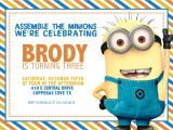 Minion Birthday Party Invites Minion Birthday Party Invitations Ideas Drevio