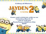 Minion Birthday Party Invites Moms Kiddie Party Link Minions Party Invites