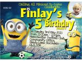 Minion Party Invitations Uk Personalized Football Minion Invitations Thank You Cards