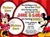 Minnie and Mickey Mouse Party Invitations Mickey and Minnie Mouse Birthday Invitations – Bagvania