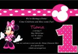 Minnie Mouse 1 Year Old Birthday Party Invitations Minnie Mouse 1st Birthday Party Invitations Best Party Ideas