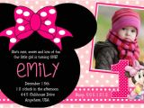 Minnie Mouse 1 Year Old Birthday Party Invitations Minnie Mouse 2nd Birthday Party Invitation Wording Free