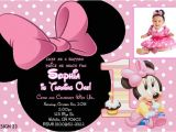 Minnie Mouse 1st Birthday Invitations Templates Baby Minnie 1st Birthday Invitations