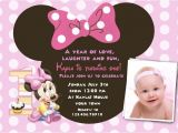 Minnie Mouse 1st Birthday Photo Invitations Free Download Minnie Mouse 1st Birthday Invitations