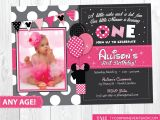 Minnie Mouse 1st Birthday Photo Invitations Minnie Mouse Birthday Invitation Minnie Mouse Inspired