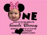 Minnie Mouse 1st Birthday Photo Invitations Minnie Mouse Birthday Invitations Personalized – Bagvania