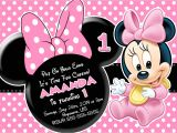 Minnie Mouse 1st Birthday Photo Invitations Minnie Mouse First Birthday Invitations