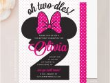 Minnie Mouse 2nd Birthday Invitation Wording Minnie Mouse Birthday Invitation 5×7 Invite