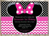 Minnie Mouse 2nd Birthday Invitation Wording Minnie Mouse Chevron Birthday 1st Birthday Invitation