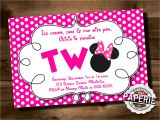 Minnie Mouse 2nd Birthday Invitations Template Pink Polka Dot Minnie Mouse Second Birthday Invitation Minnie