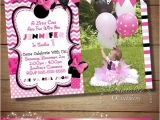 Minnie Mouse 3rd Birthday Invitations Huge Selection Pink Chevron Minnie Mouse Birthday