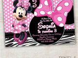 Minnie Mouse 3rd Birthday Invitations Items Similar to Zebra Minnie Mouse Birthday Invitation