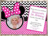 Minnie Mouse 3rd Birthday Invitations Minnie Mouse Chevron Birthday 1st Birthday Invitation 2nd