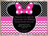 Minnie Mouse 3rd Birthday Invitations Minnie Mouse Chevron Birthday 1st Birthday Invitation