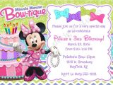 Minnie Mouse Bowtique Birthday Invitations Minnie Bowtique Birthday Invitation Invite Minnie Mouse