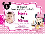 Minnie Mouse First Birthday Invitations Baby Minnie Mouse 1st Birthday Invitations