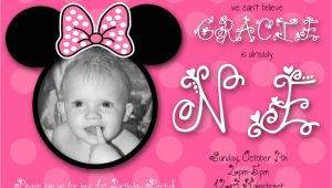 Minnie Mouse First Birthday Invitations Minnie Mouse First Birthday Custom Invitation by Chloemazurek