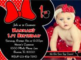 Minnie Mouse First Birthday Invitations Red Minnie Mouse Printable Birthday Invitations