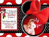Minnie Mouse First Birthday Invitations Red Red Minnie Mouse Birthday Invitations