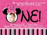 Minnie Mouse First Birthday Invitations Wording Disney Minnie Mouse 1st Birthday Invite Diy Printing
