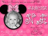 Minnie Mouse First Birthday Invitations Wording Minnie Mouse First Birthday Custom Invitation by Chloemazurek