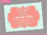 Mint and Coral Bridal Shower Invitations Coral & Mint Floral Bridal Shower Invitation Engagement
