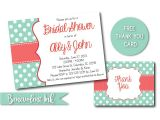 Mint and Coral Bridal Shower Invitations Mint and Coral Bridal Shower Invitation by Benevolentink